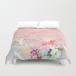Modern blush watercolor ombre floral watercolor pattern Duvet Cover