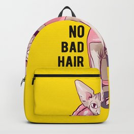 Never a bad hair day - Hairless Sphynx Cat wearing a Fluffy Pink Hoodie - Funny Animal Quote - Line Drawing Wrinkly Kitty - Illuminating Yellow Backpack