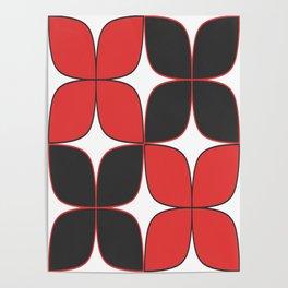 70's Flower Pattern Black Red Poster