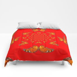 CHINESE RED MONARCH BUTTERFLIES MATING DANCE Comforters