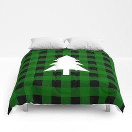 Christmas Tree - green buffalo check Comforters