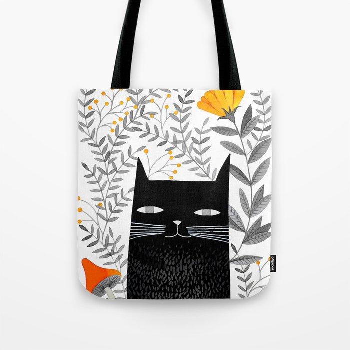 black cat with botanical illustration Tote Bag