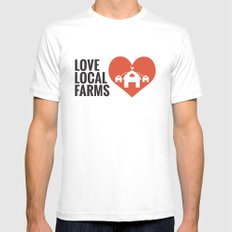 Love Local Farms White MEDIUM Mens Fitted Tee