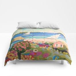Pink Hibiscus by Karen Fields Comforters