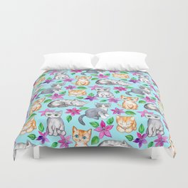 Kittens and Clematis - blue Duvet Cover