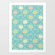 Watering Cans On Teal Art Print