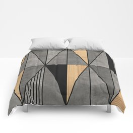Concrete and Wood Triangles Comforters