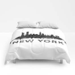 NY New York City Skyline NYC Black-White Watercolor art Comforters