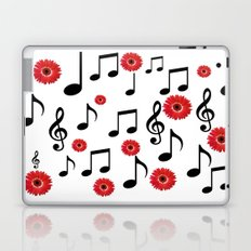 Musical Notes & Red Gerberas Laptop & iPad Skin