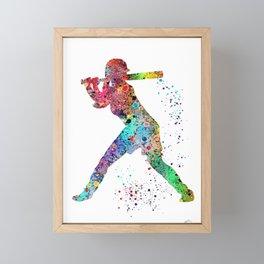 Baseball Softball Player Sports Art Print Watercolor Print Girl's softball Framed Mini Art Print
