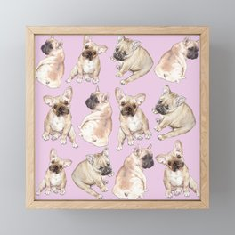 Frenchies: French Bulldog Puppies Pattern Framed Mini Art Print