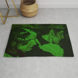 Star Gazers original Oil Painting with a green tone Rug