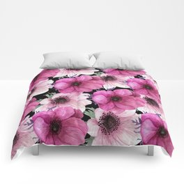 Serenity Garden: Pink Floral Pattern Comforters