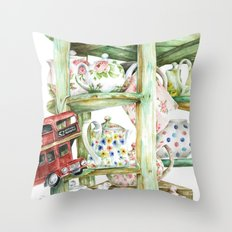 Alice's Teapots Throw Pillow