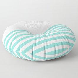 Turquoise Blue Half Stripes Floor Pillow