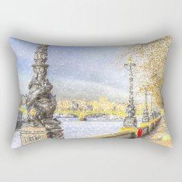 River Thames Path Snow Art Rectangular Pillow