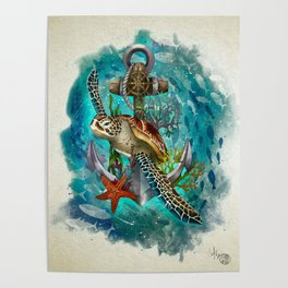 Turtle and Sea Poster