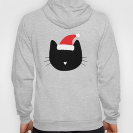 Christmas Cat Heart Nose With Santa Hat Hoody