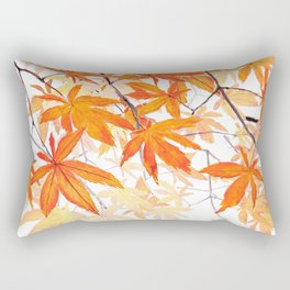 orange maple leaves watercolor Rectangular Pillow