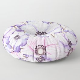 Violet and Pink Floral Heart Floor Pillow