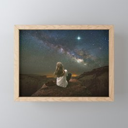 Woman on a Mountain Before the Milky Way Framed Mini Art Print