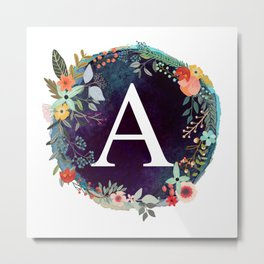 Personalized Monogram Initial Letter A Floral Wreath Artwork Metal Print