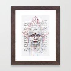 Queen of Diamonds on sheet music Framed Art Print