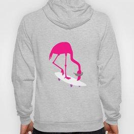 Skateboarding Neon Flamingo Hoody