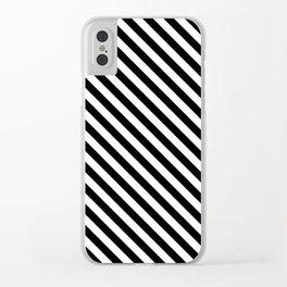 Diagonal Stripes (Black & White Pattern) Clear iPhone Case