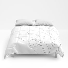 Minimal Line Art Banana Leaves Comforters