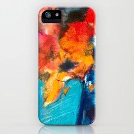 Bright Cobalt and Orange Floral  iPhone Case