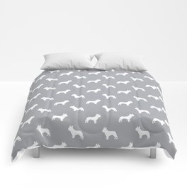 French Bulldog silhouette grey and white minimal dog pattern dog breeds Comforters