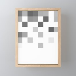 Gray Scale In Pixels Framed Mini Art Print