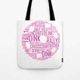 Pickleball Ball design Art Words design Gift Pink Tote Bag