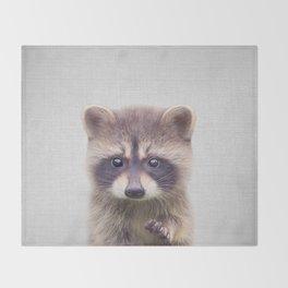 Raccoon - Colorful Throw Blanket