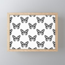Monarch Butterfly Pattern | Black and White Framed Mini Art Print