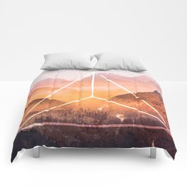 The Elements Geometric Nature Element of Fire Comforters