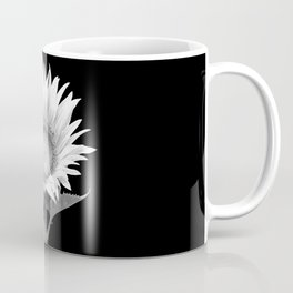 White Sunflower Black Background Coffee Mug