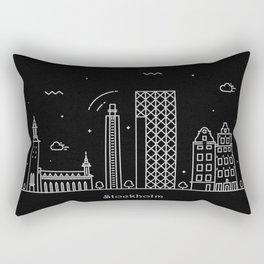 Stockholm Minimal Nightscape / Skyline Drawing Rectangular Pillow