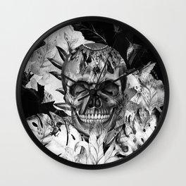 Black White Boho Skull Wall Clock