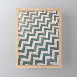 Moroccan floor tiles in green and white chevron Framed Mini Art Print
