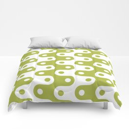 Mid Century Modern Chain Pattern Chartreuse Comforters
