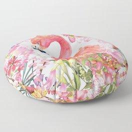 Flamingo in Tropical Flower Jungle Floor Pillow