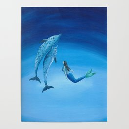 Mermaid & Dolphin - No. 3 Poster