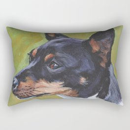 TOY FOX TERRIER dog art portrait from an original painting by L.A.Shepard Rectangular Pillow