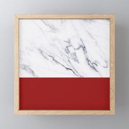 White Marble Red Hot Striped Framed Mini Art Print