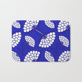 African Floral Motif on Royal Blue Bath Mat