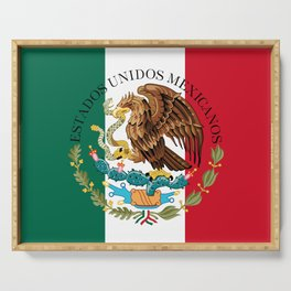 Mexican flag augmented scale with Coat of Arms Serving Tray