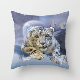Snow Leopard and Moon Throw Pillow