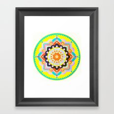 Sunny colourful happy mandala Framed Art Print